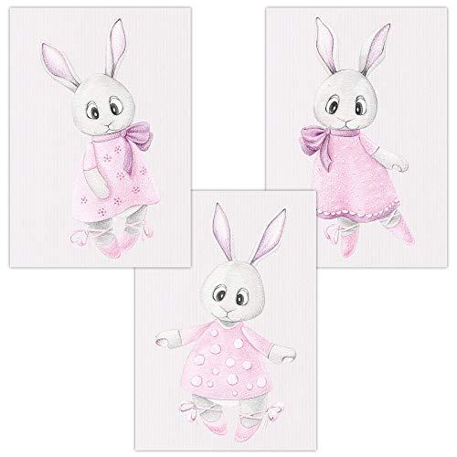 Muurfoto's set van 3 voor baby & kinderkamer decoratieve poster | kunstdruk DIN A4 zonder lijst en decoratie (jongen/meisje) DIN A4 (21 x 29,7 cm) W17 Ballerina