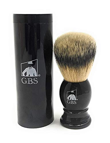 """GBS Shaving Brush 100% Animal Free Vegan Synthetic - 21mm Knot Overall 4"""" Tall Black Handle - Comes with Travel Canister - Completes Any Wet Shaving Set Pair with Your Favorite soap and Razor!"""
