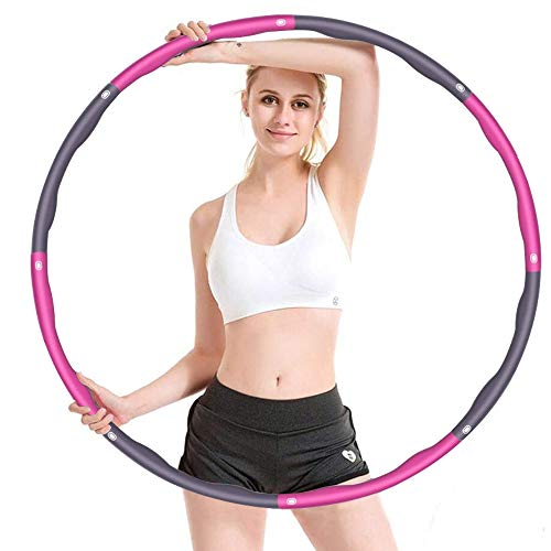 vinlley Hula Hoop zur Gewichtsreduktion,6-8 Segmente Abnehmbarer Hoola Hoop für Erwachsene & Kinder,mit Mini-Maßband (Pink & Grau)