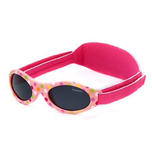 Kiddus Gafas de sol PREMIUM POLARIZADAS para bebé. 0meses a 2años. UV400 100% protección rayos UVA y UVB. Suave puente de SILICONA para la nariz. Banda ajustable de NEOPRENO (19 Puntos multicolor)