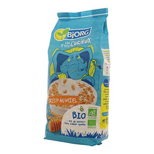 Bjorg Les P'tits Curieux – Crisp au miel – Céréales enfants bio pour le petit déjeuner – 1 paquet de 220 g