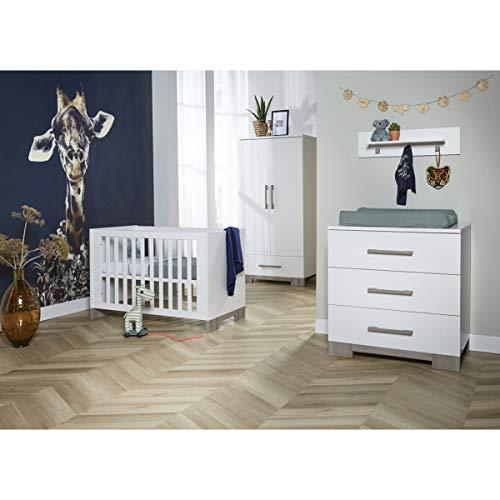 Chambre complète lit évolutif 70x140 - commode à langer - armoire 2 portes Wenen - Blanc et bois