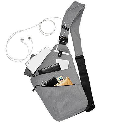 Sling Bag Chest Backpack Casual Daypack Grey Shoulder Crossbody Lightweight Anti Theft Outdoor Sport Travel Hiking Bag For Men Women