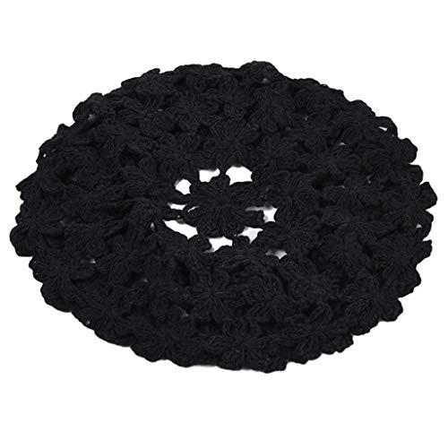 6Wcveuebuc Estilo Japonés Mujeres Hecho a Mano de Crochet Boina Cap Color Sólido Hueco Dulce Floral Tejido Señora Ocio Vintage Slouchy Pintor Sombrero