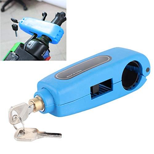 Zhjvihx Bloqueo antirrobo del Manillar, ABS + Alambre de Acero Inoxidable Práctico Bloqueo del Manillar de la Motocicleta, 3 Colores para el Manillar de la Motocicleta(Blue)