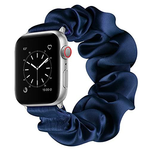 Compatible con Apple Watch Series SE 6 5 4 3 2 1 Bandas, Correa Scrunchie Correa de Reloj Elástica para Mujeres Correa de Pulsera de Tela Color Sólido Moda para iWatch 38/40mm 42/44mm,Blue,42/44mm(L)