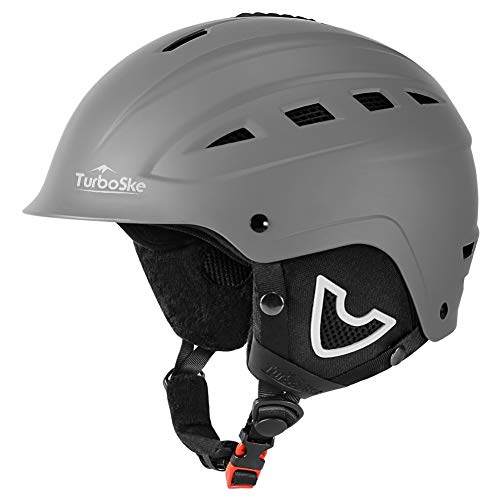 TurboSke Ski Helmet, Snow Sports Helmet, Snowboard Helmet Men Women Youth (Gray, S (19.5'-21'))