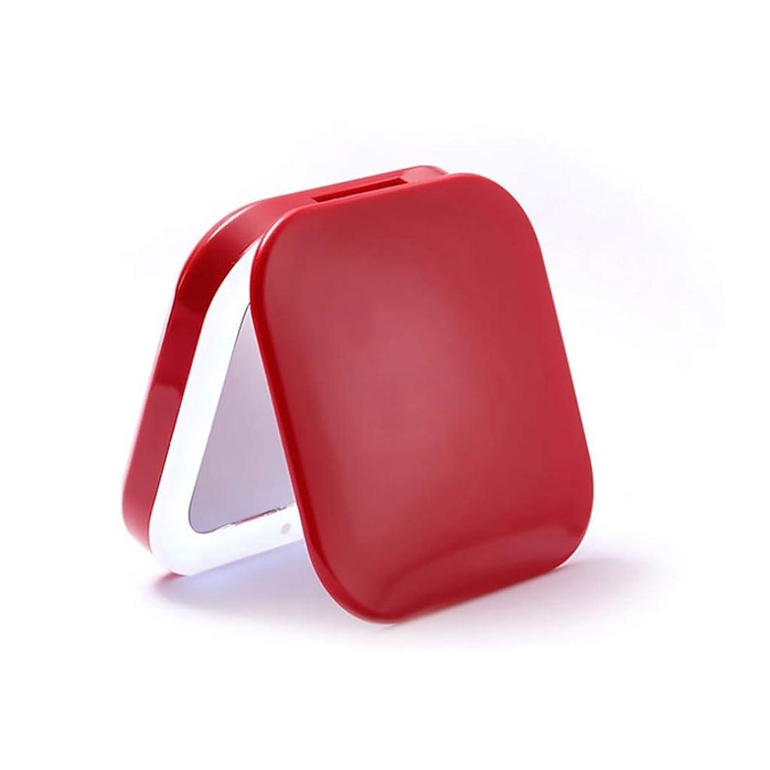求人あいまいな鯨メイクアップミラーメイクアップミラーミニかわいいメイクアップミラー付きLED折りたたみポータブルメイクアップミラー多機能小型ミラー (Color : RED, Size : 8.3*8.3*2.3CM)