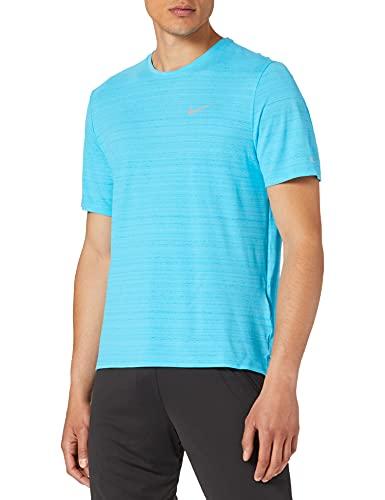 NIKE DF Miler, Camiseta Hombre, Chlorine Blue/Reflective Silv, L