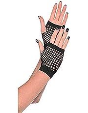 Amscan Short Fishnet Gloves, Party Accessory, Black