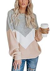 BONKWA Gebreide trui voor dames, ronde hals, lange mouwen, met kleurrijke naden in V-vorm.