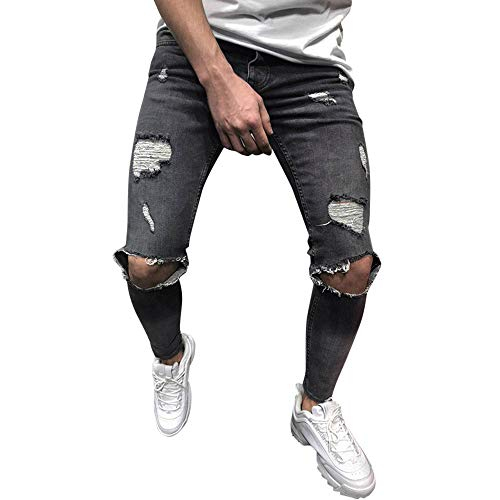 Kobay Hommes Pantalon Slim en Denim Stretch Pantalon en Jean Slim DéChiré DéChiré Et DéChiré(XXXX-Large,Gris)