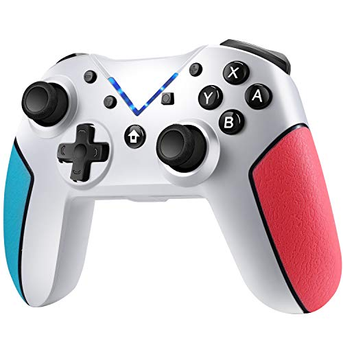 Jamswall Mando para Nintendo Switch, Controlador Inalámbrico Bluetooth Apoya Vibración, Turbo y Giroscopio, Gamepad para Nintendo Switch/Lite/Android/PS3/PC (Blanco)