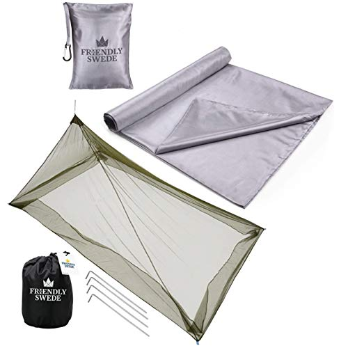 The Friendly Swede Sleeping Bag Liner/Travel Sheet and Mosquito Bed Net Bundle for Camping and Traveling.