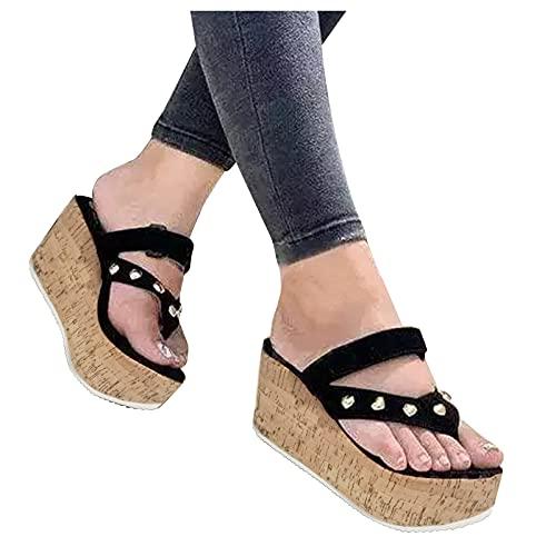 Writtian Cómodas Sandalias de cuña de Plataforma para Mujer Zapatos Casuales de Verano con Zapatillas de Playa, Sandalias de Mujer Zapatillas Zapatos de Mujer Sandalias de Plataforma y cuña.
