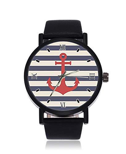 Nautische Anker mit Rose Blumen Ultradünne Herren Damen Armbanduhren Business Casual Sport Quarzuhr für Frauen Männer Wasserdicht Unisex Uhr