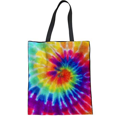 Coloranimal Rainbow Batik-Leinen-Tragetasche, umweltfreundlich, Baumwolle, weiche Rückseite, für Outdoor-Reisen