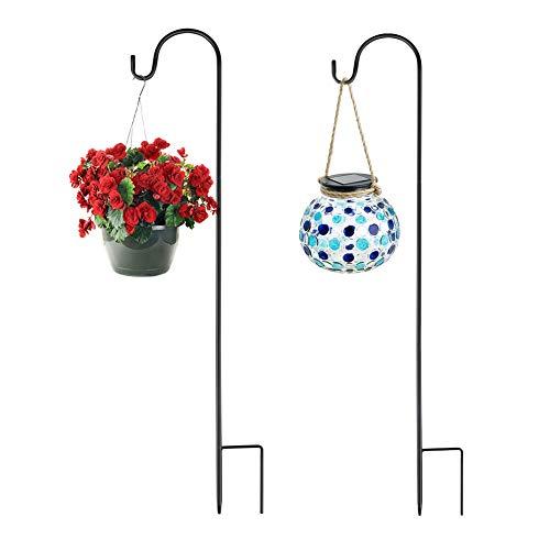 Yinweiwei Adjustable Height Shepherds Crook Hooks with base, 76 cm/29.64 in Metal Border Hook for Garden Lights, Lanterns,Wind Chime,-3 Section Stitching, Black,set of 2