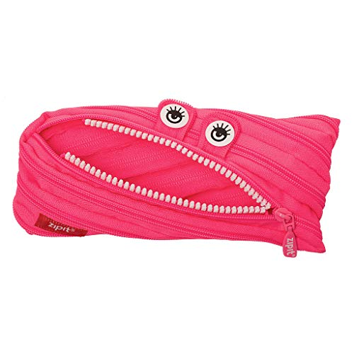 ZIPIT Monster Pencil Case for Girls, Holds Up to 30 Pens, Machine Washable, Made of One Long Zipper! (Pink)