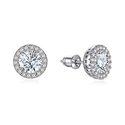 Stud Earrings White Round Earrings for Girls Fashion Cubic Zirconia Halo Earrings for Women Men