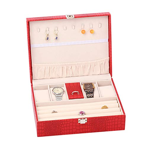 Jewelry Box, PU Leather Wooden Multi Layer Jewelry Box Portable Large Capacity Storage Bag Box for Rings Bracelets Earrings Necklaces, 23.5 * 18.7 * 8 CM (L*W*H),Red