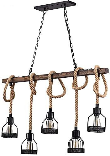 LOXZJYG La combinación Ventilador de Techo Industrial Vintage y araña Retro araña rústica de chandelera Negra de Metal y Madera en la Jaula de la Jaula de la Jaula de la Jaula de la Caja de Comedo