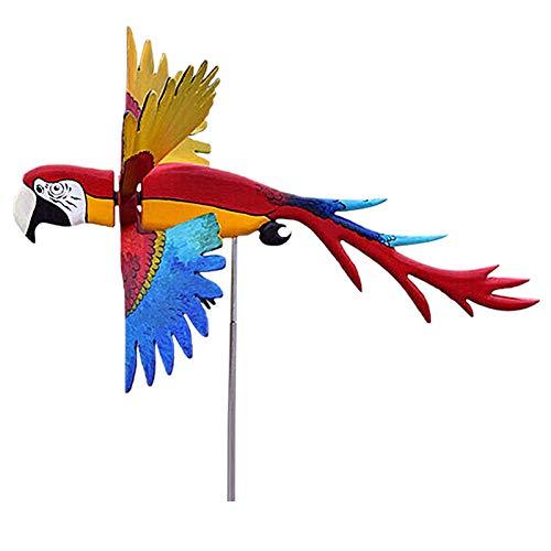 Kleine Vogelwindmühle, Wetterfeste Windmühle, Garten Windräder Whirligigs Wind Spinner Windspiele, Garten Deko Windspiel, Windmühle Wetterfahne für Yard Lawn, Windmühlen Ornamente Gartenkunst (Rot)