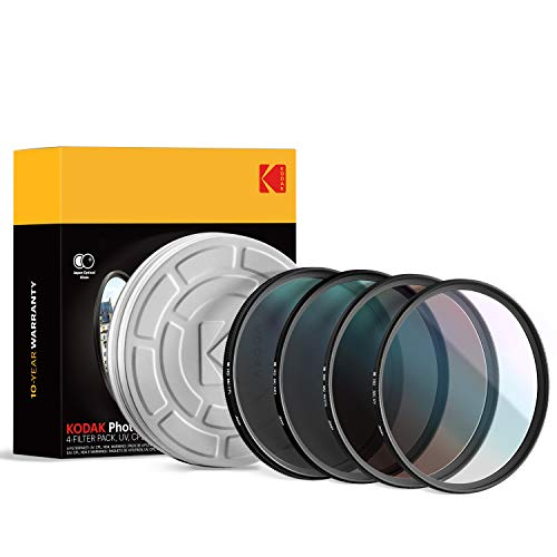 KODAK 55mm Filter Set UV, CPL, ND4 & Warming Filters - Absorb Atmospheric Haze Reduce Glare Prevent Overexposure Correct Color Add Warmth, & Creative Effects | Slim, Multi-Coated Glass & Mini Guide