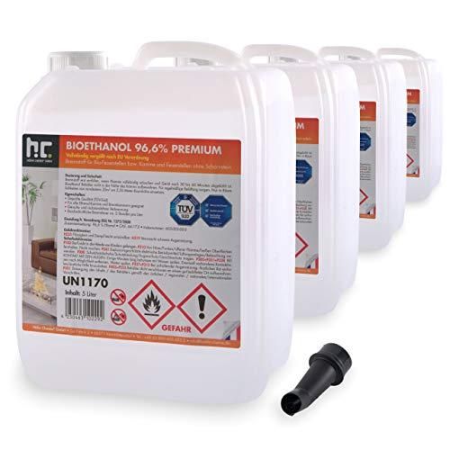 Höfer Chemie 4 x 5 L (20 Liter) Bioethanol 96,6{77883f69647fac8d7bf725ccd410f7298c7e60fb90aaeebfebe7f54e6033514c} Premium - TÜV SÜD zertifizierte QUALITÄT - für Ethanol Kamin, Ethanol Feuerstelle, Ethanol Tischfeuer und Bioethanol Kamin