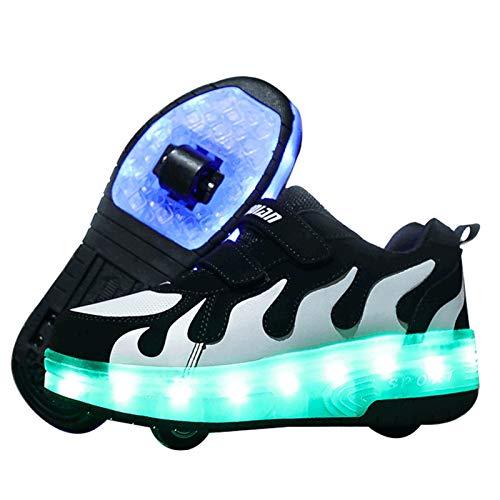 WFSH Zapatos de Rodillos para niñas niños niños Dual Rueda LED LED Parpadeante Skate Sneaker Zapatos (Color : D, Size : 39)