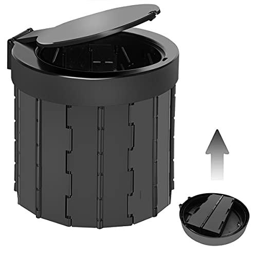 TRIPTIPS Portable Folding Toilet Travel Toilet Camping Toilet Porta Potty Car Toilet Bucket Toilet Portable Toilet for Camping/Boat/Hiking/Long Trips/Beach(Black)