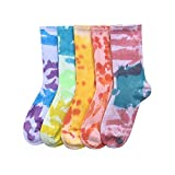 Women Tie-dye Crew Socks Casual Knitted Socks Funny Novelty Fashion Colorful Cool Crazy Socks 5 Pairs (Assorted, One Size)