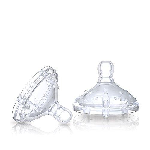 Nuby NT67602 - Natural Touch Soft Flex Flaschensauger aus Silikon, Grösse L für schnellen Trinkfluss, dickflüssige Nahrung, Milch, Säfte, 2er Pack