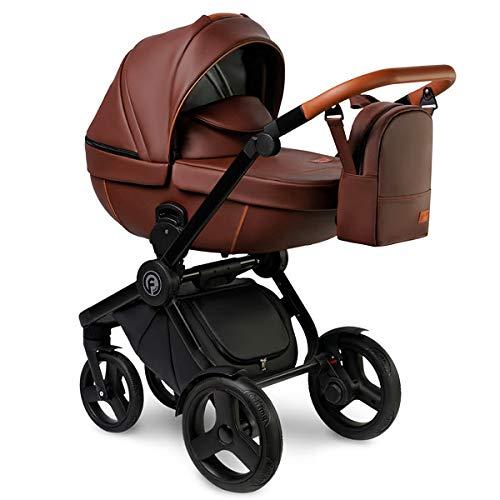 Krausman Kinderwagen 3 in 1 Topaz Lux Brown Kombikinderwagen Babyschale Babywanne Sportwagen