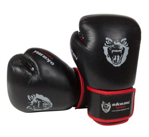 OKAMI Fightgear Uni Boxhandschuhe Pro Leder, schwarz, 12oz, 12-0005