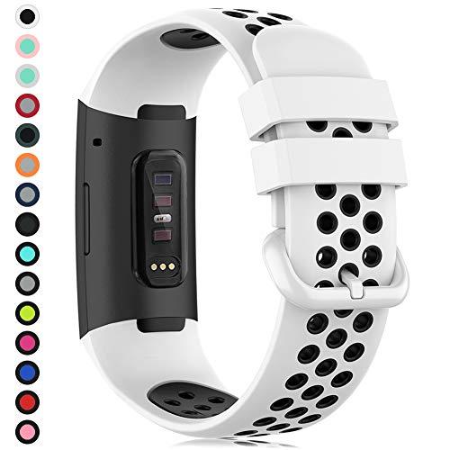 Gogoings Correa Compatible con Fitbit Charge 3/Charge 4 Straps, Pulsera de Silicona Deportiva Acesorio de reemplazo Ajustable para Charge 3 SE, per Mujeres Hombres Grande Piccolo