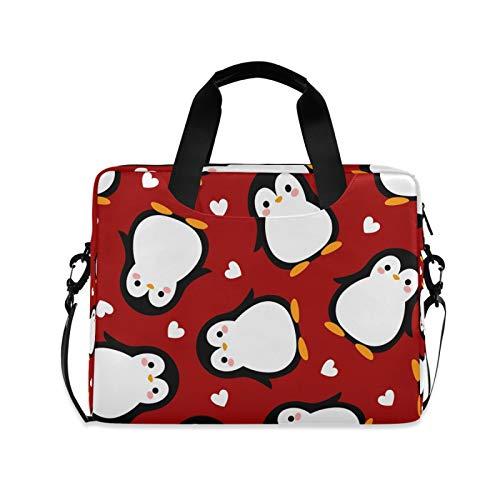 OOWOW - Bolsa para portátil para mujer y hombre, diseño de pingüino con corazón y diseño de pingüino