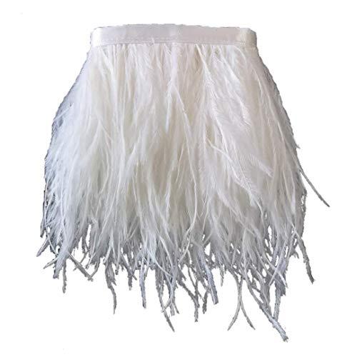 Sowder Straußenfeder-Borte, Fransen mit Satinband, für Kleidung, Kostüme, Nähen, Dekoration, 183 cm weiß