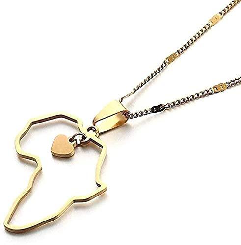 ZGYFJCH Co.,ltd Collar Mujer Collar Collar Moda Acero Inoxidable Mapa de África Collares Moda Corazón Colgante Mapa Cadena Joyería Africana Regalo
