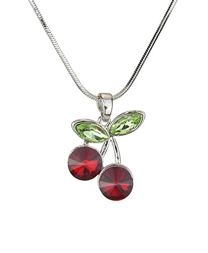 Ella Jonte Rockabilly Kette Damen Kirsche Silber rot grün Kurze Halskette by Newcomer