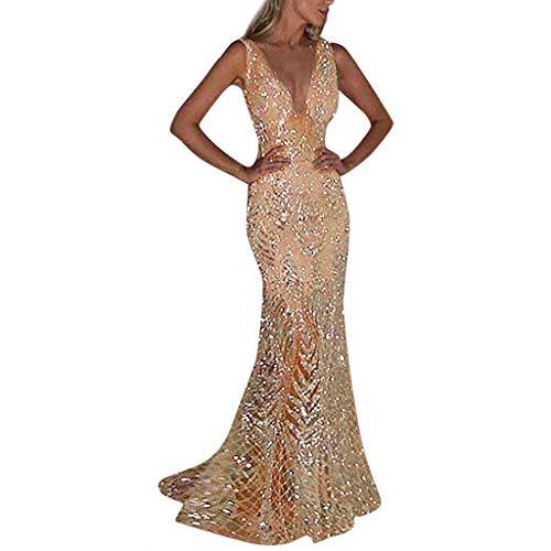 Lulupi Donna Vestiti con Paillettes da Cocktail, Sexy Vestito con Brillantini Donna Slim Fit Stile...