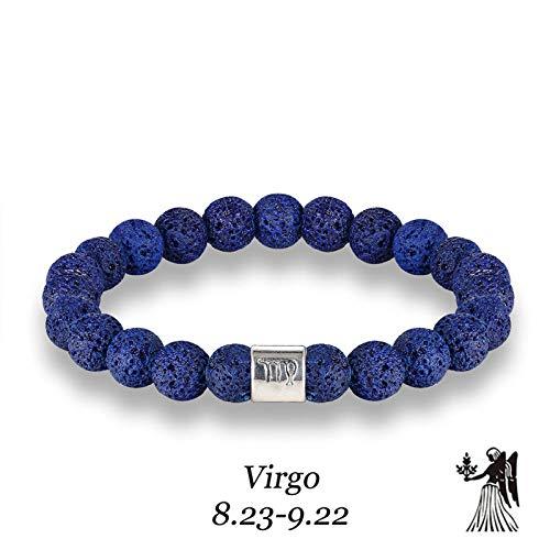 LLXXYY stenen armband voor vrouwen, handgemaakte armband van natuurstenen parels 7 chakra vintage armband lavasteen diffuser voor etherische olie sterrenbeeld jong energie genezing blauw armband voor vrouwen M