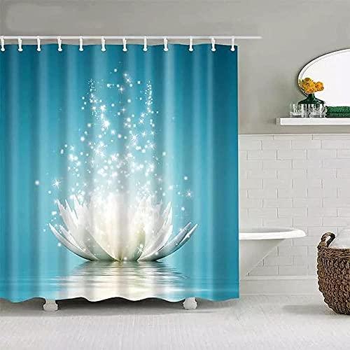 Bunte Duschvorhang Badezimmer Dekor Lotus Blume Duschvorhang 3D gedruckte Polyester Bad Vorhang mit Haken für Hochzeit Home Badezimmer Dekor -180X180cm