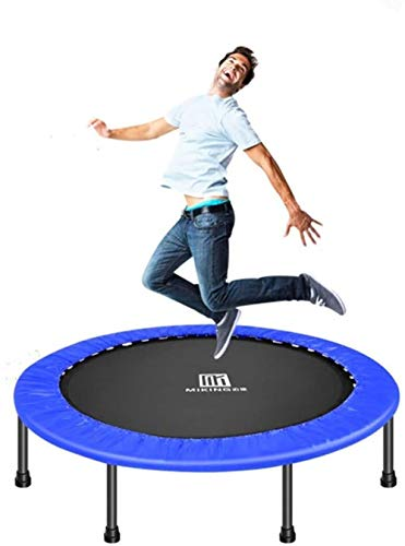 JISHIYU Folding Mini Trampoline for Exercises with Padded Safety Cover Cardiovascular Trainer with Bouncing Fitness Trampoline for Adults and Children External Internal Max 150 Kg (Color : Blue)
