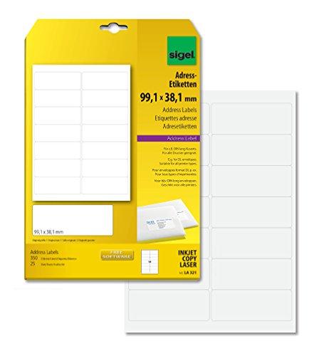 SIGEL LA321 abgerundete Adress-Etiketten weiß, 99,1 x 38,1 mm, 350 Etiketten = 25 Blatt