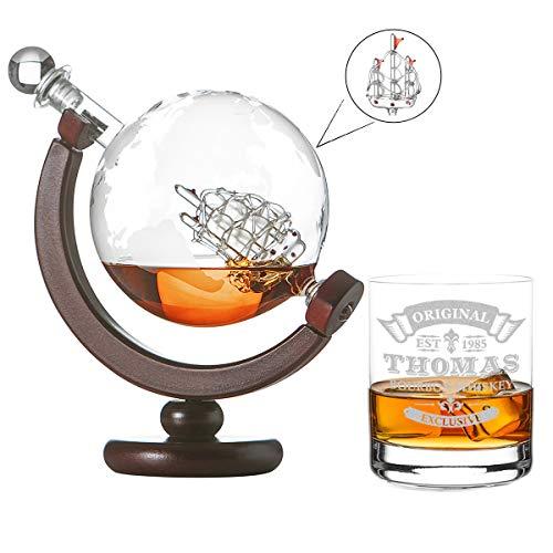 polar-effekt Whisky-Karaffe Segelschiff mit Weltkarte - 1 Whiskyglas Tumbler mit Gravur Motiv Original Exclusive - Scotch Flasche, Weltkugel Dekanter aus Glas 850ml - Geschenk-Idee für Weihnachten