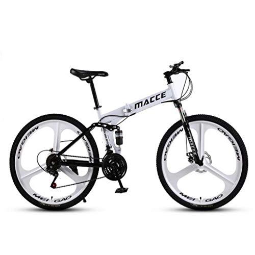 RPOLY 27 de Velocidad Bicicleta de Montaña Plegable, Doble Freno de Disco, Bicicleta Plegable/Unisex, Variable Fuera de la Carretera Velocidad de la Bicicleta,White_24 Inch