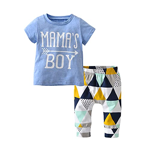 Product Image of the Baby Boys Summer Mama's Boy Short Sleeve T-Shirt Tops Geometric Pants Clothes...