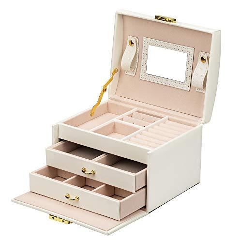 ADEL DREAM Schmuckkasten, Schmuckkoffer, abschließbar, 3 Ebenen mit 2 Schubladen, mit Spiegel, für Ringe, Ohrringe, Halsketten und Armbänder (weiß)