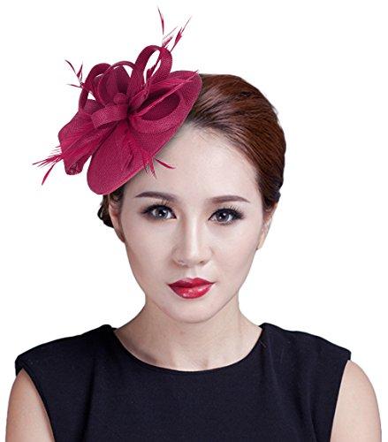 GEMVIE Damen Schleife Haarclip Haarband Fascinator Minihut mit Feder Rot3